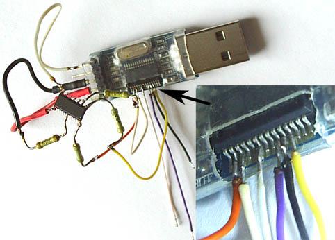 Пример получения доступа к недостающим сигналам конвертера USB-RS232TTL